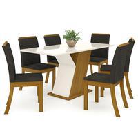 Conjunto Sala De Jantar Mesa 160cm Tampo Mdf Com Vidro 6 Cadeiras Kesha Casa 812