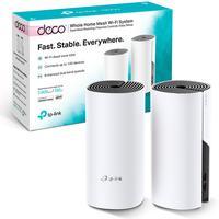 Kit 2 peças - Roteador Fast Wifi TP-Link Rede Mesh AC1200 Mbps Dual Band 2.4Ghz e 5.0Ghz 3 em 1 - DECO E4
