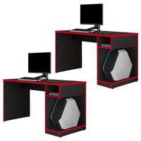 Kit 02 Mesas Para Computador Notebook Pc Gamer Legend F01 Preto Vermelho - Lyam Decor