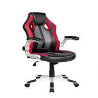 Cadeira Gamer Pelegrin Pel-3009 Couro Pu Preta, Vermelha E Cinza