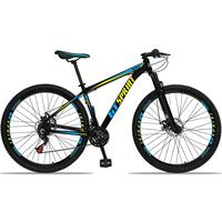 Bicicleta Aro 29 Gt Sprint Mx1 21v Suspensão E Freio A Disco - Preto/azul E Amarelo - 21''