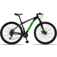 Bicicleta Aro 29 Spaceline Orion 21v Suspensão Freio A Disco - Preto/verde E Cinza - 19''