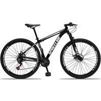 Bicicleta Aro 29 Spaceline Orion 21v Suspensão Freio A Disco - Preto/branco - 17´´ - 17´´