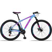 Bicicleta Aro 29 Spaceline Orion 21v Suspensão Freio A Disco - Azul/rosa - 17´´ - 17´´