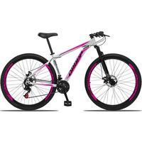 Bicicleta Aro 29 Dropp Aluminum 21v Suspensão, Freio A Disco - Branco/rosa E Preto - 21