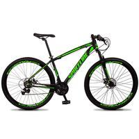 Bicicleta Aro 29 Spaceline Vega 21v Suspensão E Freio Disco - Preto/verde - 17''