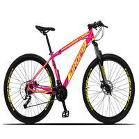 Bicicleta Aro 29 Dropp Z3x 27v Suspensão E Freio Hidraulico - Rosa/amarelo - 17''