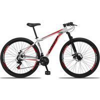Bicicleta Aro 29 Dropp Aluminum 21v Suspensão, Freio A Disco - Branco/vermelho E Preto - 15