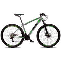Bicicleta Aro 29 Gt Sprint Volcon 21v Suspensão, Freio Disco - Cinza/verde E Preto - 19''
