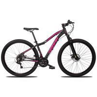 Bicicleta Aro 29 Dropp Flower 21v Suspensão E Freio A Disco - Preto/rosa - 15