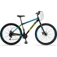 Bicicleta Aro 29 Spaceline Moon 21v Garfo Rigido Freio Disco - Preto/azul E Amarelo - 19''