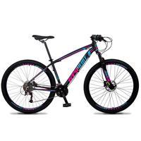 Bicicleta Aro 29 Gt Sprint Volcon 21v Suspensão, Freio Disco - Preto/azul E Rosa - 17