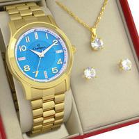 Relógio Feminino Champion Dourado Azul Original 1 ano de garantia com colar e brincos