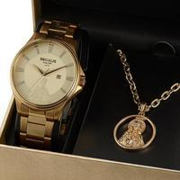 Kit Relógio Masc Analógico Dourado Seculus  20983gpskda1k1