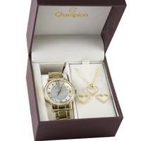 Kit Relógio Feminino Champion Analógico Ch24599w - Dourado
