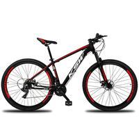 """Bicicleta Aro 29 Ksw 21 Marchas Freios A Disco C/trava E K7 Cor:preto/vermelho E Brancotamanho Do Quadro:21"""" - 21"""""""