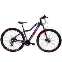 """Bicicleta Aro 29 Ksw 21 Marchas Freios A Disco, K7 E Suspensão Cor: Preto/rosa E Azul, Tamanho Do Quadro:15"""" - 15"""""""