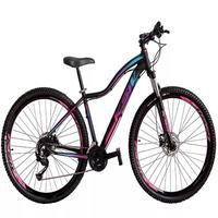 """Bicicleta Aro 29 Ksw 21 Marchas Shimano Freios Disco E Trava Cor: preto/rosa E Azul tamanho Do Quadro: 15"""""""