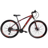 Bicicleta Aro 29 Ksw 24 Marchas Shimano, Freios A Disco E K7 Cor:preto/laranja E Vermelho tamanho Do Quadro: 17pol - 17pol