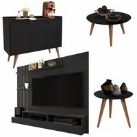 Conjunto Painel / Aparador Buffet Wood / Mesa De Centro E Lateral Cissa - Preto