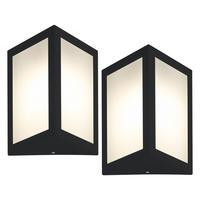 Luminária De Parede Triangular Preto Kit Com 2