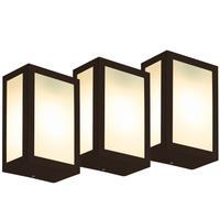 Luminária De Parede Retangular Marrom Kit Com 3