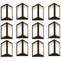 Luminária De Parede Triangular Marrom Kit Com 12